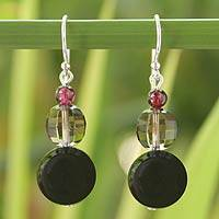 Garnet and smoky quartz dangle earrings, 'Red Carpet' - Garnet and Smoky Quartz Dangle Earrings