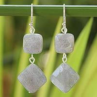 Labradorite dangle earrings, 'Subtle Facets' - Fair Trade Labradorite Earrings