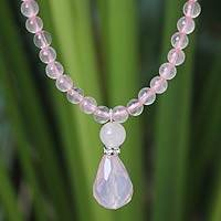 Rose quartz pendant necklace, 'Feminine Pink' - Rose Quartz Beaded Necklace