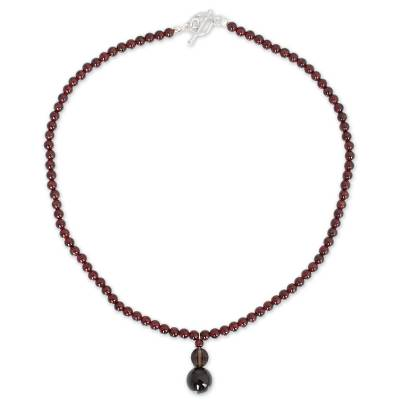 Garnet and smoky quartz necklace, 'Red Carpet' - Beaded Garnet Necklace from Thailand