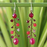 Beaded dangle earrings, 'Thai Roses' - Garnet and Quartz Beaded Earrings