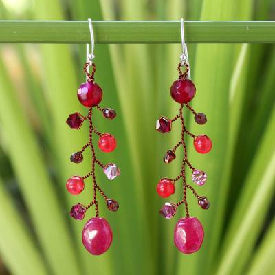 Beaded dangle earrings, Thai Roses