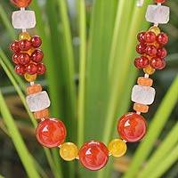 Carnelian and rose quartz beaded necklace, 'Passion's Promise' - Handmade Beaded Carnelian Necklace