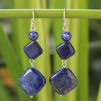 Lapis lazuli dangle earrings, 'Forever Blue' - Unique Thai Lapis Lazuli Dangle Earrings