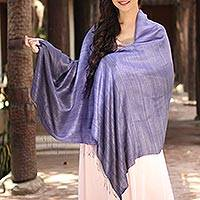 Silk shawl, 'Bold Lily' - Purple Hand Crafted Thai Raw Silk Shawl