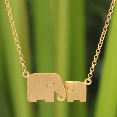 Gold vermeil pendant necklace, 'Family Love' - Gold Vermeil Elephant Necklace