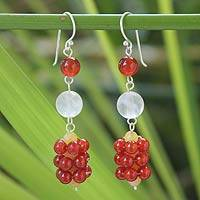 Carnelian and rose quartz dangle earrings,