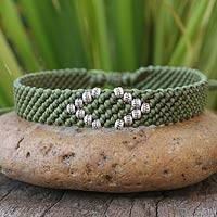 Silver accent wristband bracelet, 'Hill Tribe Green' - Hand Crafted Hill Tribe Wristband Bracelet