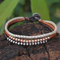 Silver accent braided bracelet, 'Cool Thai Autumn' - Handcrafted Hill Tribe Silver Braided Bracelet