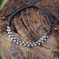 Silver accent braided bracelet, 'Hill Tribe Flowers' - Hand Crafted Floral Silver Braided Bracelet