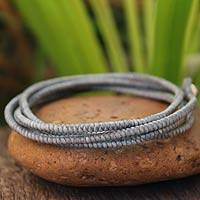 Silver accent wrap bracelet, 'Gray Labyrinth Walk' - Handcrafted Wrap Bracelet