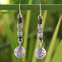 Silver dangle earrings, 'Hill Tribe Stories' - Hill Tribe Silver Dangle Earrings from Thailand