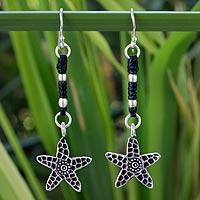 Silver dangle earrings, 'Urban Starfish' - Silver dangle earrings