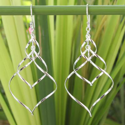 Sterling silver dangle earrings, 'Chiang Mai Chimes' - Modern Sterling Silver Dangle Earrings