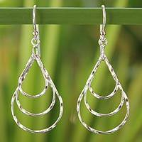 Sterling silver dangle earrings, 'Raindrops' - Modern Sterling Silver Dangle Earrings from Thailand