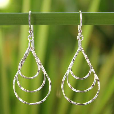 Sterling silver dangle earrings, 'Ripples in the Stream' - Modern Sterling Silver Dangle Earrings from Thailand