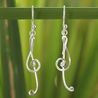 Sterling silver dangle earrings, 'Siam Melody' - Unique Sterling Silver Dangle Earrings
