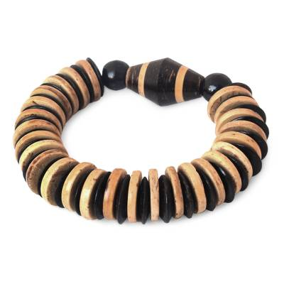 Coconut shell and wood stretch bracelet
