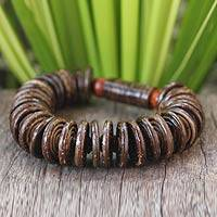 Coconut shell and wood stretch bracelet,