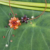 Carnelian and garnet choker, 'Gorgeous Blossom' - Carnelian and Garnet Flower Necklace