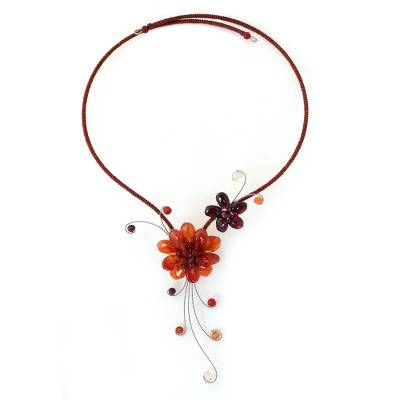 Carnelian and Garnet Flower Necklace
