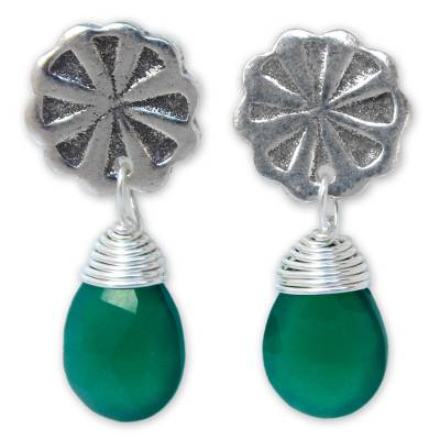 Unique Floral Silver and Chalcedony Earrings