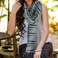 Batik scarf, 'Gray Embrace' - Batik Patterned Scarf