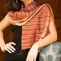 Batik scarf, 'Ginger Embrace' - Unique Batik Patterned Scarf