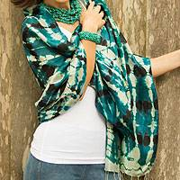Silk shawl, 'Turquoise Reflecting Pools' - Women's Multicolor Silk Shawl