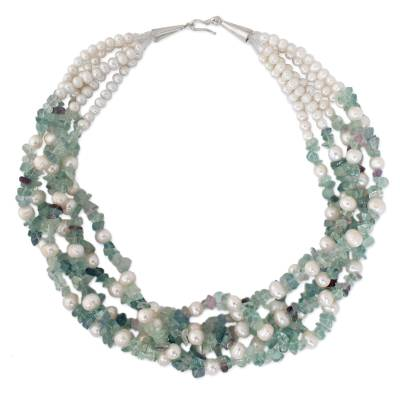 Pearl and Fluorite Necklace Handmade in Thailand