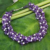 Cultured pearl and amethyst beaded necklace, 'Snow Iris' - Hand Crafted Amethyst and Pearl Necklace