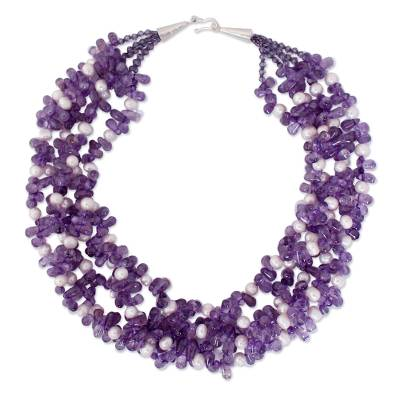 Hand Crafted Amethyst and Pearl Necklace