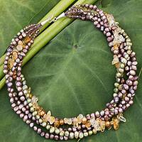 Cultured pearl and citrine beaded necklace, 'Rich Colors' - Cultured pearl and citrine beaded necklace