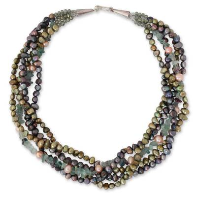 Cultured pearl and fluorite beaded necklace