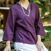 Cotton wrap blouse, 'Purple Thai Charm' - Cotton Wrap Blouse