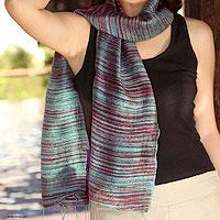 Silk batik scarf, 'Mae Nam Khong Valley' - Fair Trade Silk Scarf from Thailand