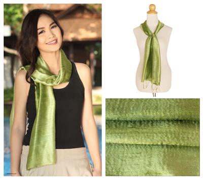 Silk batik scarf, 'Jade Duality' - Thai Silk Batik Scarf