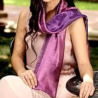 Silk scarf, 'Violet Duality' - Handmade Purple Silk Scarf from Thailand
