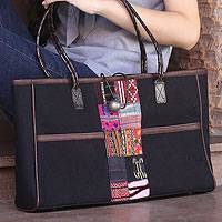 Cotton shoulder bag Tribal Black Thailand