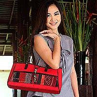 Leather accent cotton shoulder bag, 'Red Thai Spice' - Leather accent cotton shoulder bag
