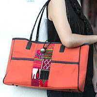 Cotton shoulder bag, 'Tribal Ginger' - Cotton shoulder bag