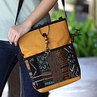 Leather accent cotton shoulder bag, 'Dokmai Gold' - Hill Tribe Patchwork Shoulder Bag from Thailand
