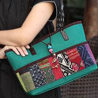 Leather accent cotton shoulder bag, 'Chiang Mai Emerald' - Leather accent cotton shoulder bag
