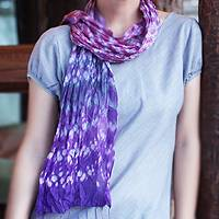 Tie-dyed scarf, 'Fabulous Amethyst' - Tie-dyed scarf