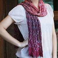 Tie-dyed scarf, 'Fabulous Wine'