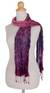 Tie-dyed scarf, 'Fabulous Wine' - Tie Dye Scarf (image 2b) thumbail