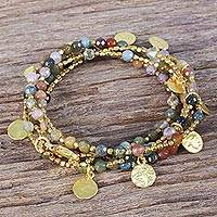 Gold plated jasper wrap bracelet, Deva Dancer