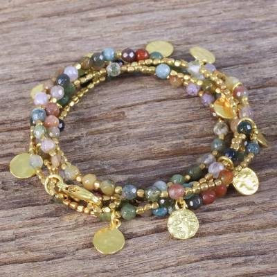 Gold plated jasper wrap bracelet, 'Deva Dancer' - Gold plated jasper wrap bracelet