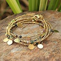 Gold plated jasper wrap bracelet, 'Forest Suns' - Gold plated jasper wrap bracelet