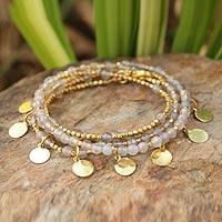 Gold plated wrap bracelet, 'Moonlit Deva Dancer' - Gold Plated Brass and Agate Wrap Bracelet